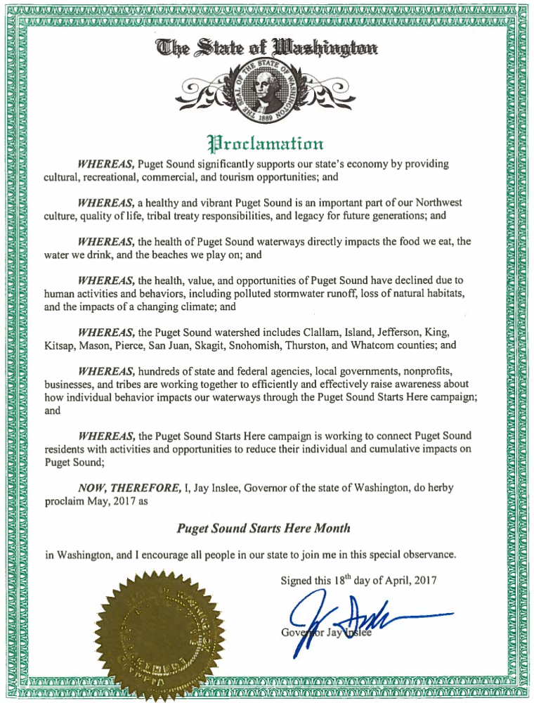 Governor's Proclamation - Puget Sound Starts Here Month
