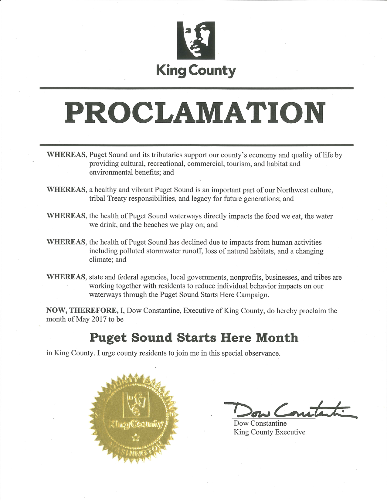 King County Proclamation - Puget Sound Starts Here Month